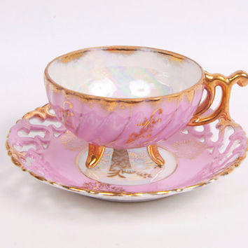 Nippon Yoko Boeki Teacup and Saucer Pink Lusterware Gold Leaf Trim Reticulated Saucer Iridescent Demitasse Cup Hand Painted