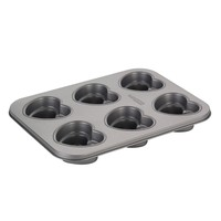 Cake Boss Specialty Bakeware 6-Cup Nonstick Heart Cakelette Pan (White)