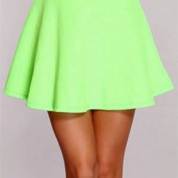 Neon Lime Green Circle A Line Flare Mini Skater Skirt Elastic Stretch Waist