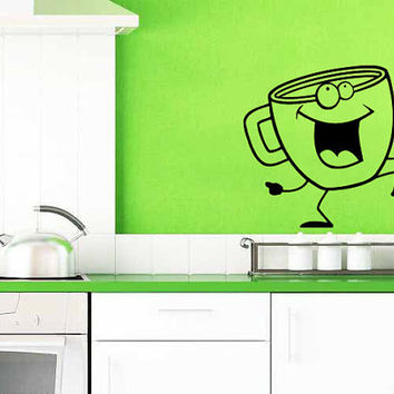 Coffee Cup Doing A Happy Dance Vinyl Decal Wall Sticker Art Design Kitchen Cafe Room Bedroom Nice Picture Home Decor Hall ki85