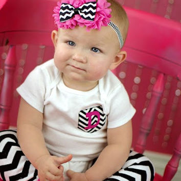 Chevron Initial Custom Pocket Onesuit Shirt with Headband and Chevron Legwarmers Sizes NB through Size 6