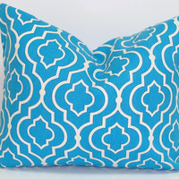 Blue Pillow.12x16 or 12x18 inch Moroccan Tiles.Pillow Cover..Printed Fabric Front and Back.Housewares.Home Decor. Blue Pillow.Ogee