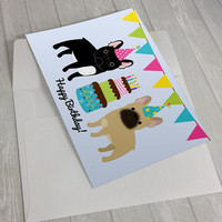 Birthday Card - Fawn French Bulldog Birthday Card - Black French Bulldog lover card - French Bulldog with birthday hat -French Bulldog gift