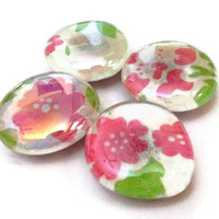 CLEARANCE Glass Marble Magnets Large Pink Flowers Set of 4