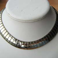 Wide snake chain silver tone choker collar necklace