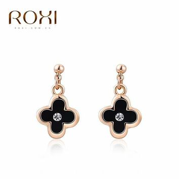 G&S Brand Womens Earrings Gift Rose Gold Color Black Four Leaf Clover Pendant Earrings Crystal Earrings Fashion Jewelry