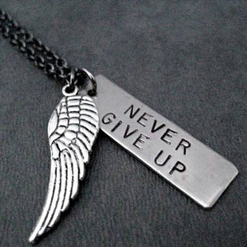 NEVER GIVE UP with Wing Necklace - Dog Tag Style Pendant with Large or Small Wing Charm on Gunmetal Chain - Never Quit - Keep Moving Forward