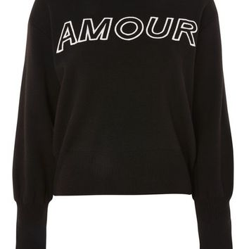'Amour' Slogan Sweater