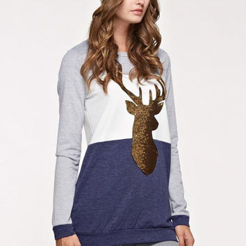 Sequin Reindeer Tunic Color Block Top - Navy
