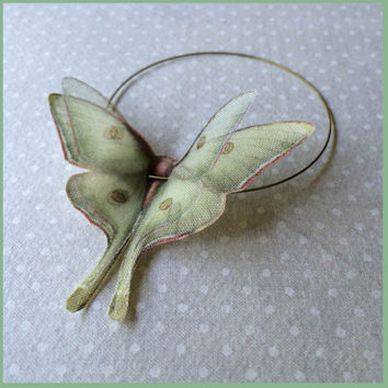 I Will Fly Away - Luna Moth (Actias Luna) Butterflies Bangle Bracelet - Silk Organza and Cotton - Made to Order
