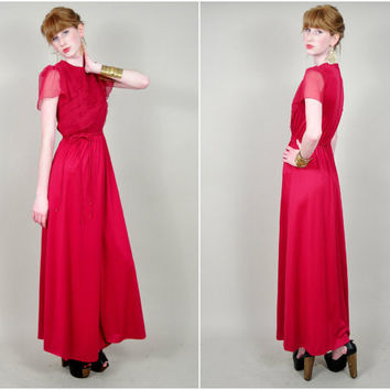 VINTAGE 70s cranberry wine sheer chiffon assymetrical ruffle bust tie waist draped boho prom maxi dress