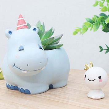 Modern Cartoon Succulent Planter Pot Resin Creative Handicraft Animals Kawaii Shape Desktop Decoration Flower Pots