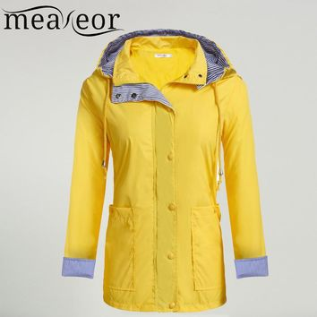 Meaneor Women Casual Waterproof Raincoat Jacket Hooded Long Sleeve Adjustable Drawstring Pocket, Button Zipper Jackets