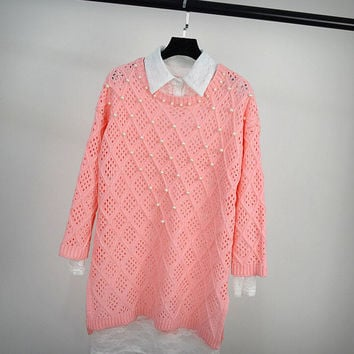 Womens Comfortable Hollow Pearl Pullover Sweater