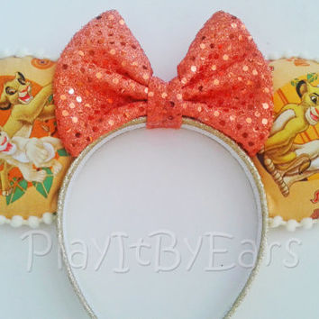 "Handmade ""Simba and Nala"" Lion King Custom Mouse Ears inspired by Disney"