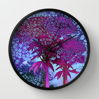 garden at night Wall Clock by Clemm