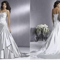Free Shipping 2011 Elegent A Line Sleeveless Appliqued Satin Designer Wedding Dresses Bridal Gown Wedding Gown WD-G012