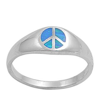 Sterling Silver Peace Sign Hippie 7MM Blue Lab Opal Ring