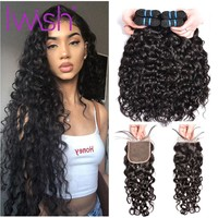 Brazilian Water Wave Bundles With Closure Iwish Human Hair 3 Bundles With Lace Closure Non Remy Hair Brazilian Weave Bundle 4pcs
