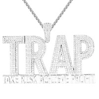New Risk Trap Double Layer 3D Iced Out Men's Hustler Pendant