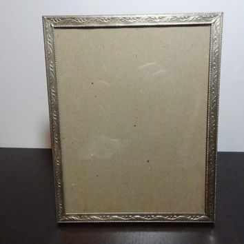 Vintage 8 x 10 Light Gold Tone Picture Frame with Flourishes Border Design - Hollywood Regency