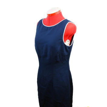 Navy Blue Dress Party Dress Vintage Womens Clothing Nautical Dress Cut Out Dress Vintage Clothing Sleeveless Dress Cocktail Dress Navy Dress