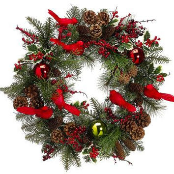 "Artificial Christmas Wreath - 21 ""  - Pre-decorated"