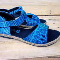 Ethnic Hmong Embroidery Brilliant Blue T-Strap Vegan Womens Sandal