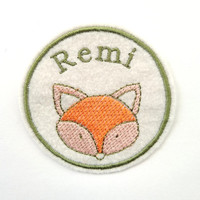 Fox Patch/Custom Name Patch/Personalised Embroidered Patch/Personalized Patch/Name Badge/Kids Patch/Sew On/Iron on