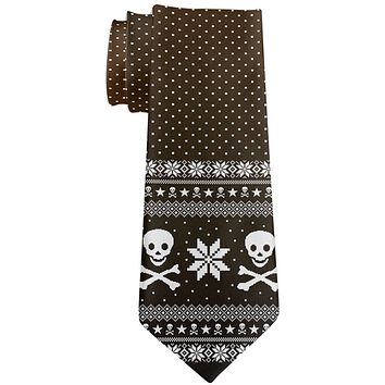 Ugly Christmas Sweater Pirate Skull and Crossbones All Over Neck Tie