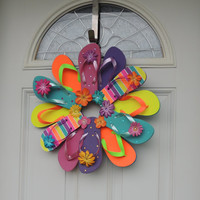 Handmade Flip Flop Wreath Decor Neon Stripes