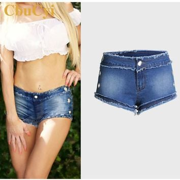CbuCyi Plus Size 3XL Summer Women's Clothing Mini Short Denim Jeans Stretch Mid Waist Burrs Bleached Zippers Cotton Denim Shorts