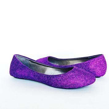 Purple Glitter Flats, Violet Ballet Shoes