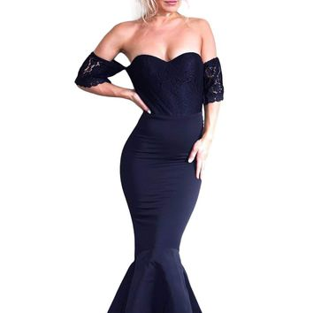 Navy Lace Embellished Strapless Party Dress