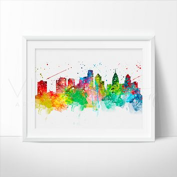 Philadelphia Skyline Watercolor Art Print
