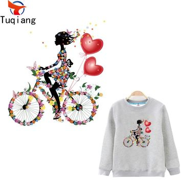 Romantic style flower girl and bicycle stickers Diy iron on patches girls T-shirt hoodie and denim jacket decorative 26.5*24.5CM