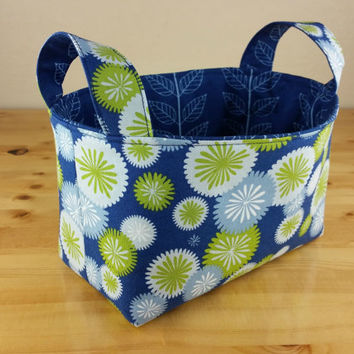 Blue Cirlces and Leaves Medium Fabric Basket Storage Bin