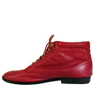 Red Ankle Boot Pixie Boot Lace Up Boot 8 90s Boot 80s Boot Leather Ankle Boot Women Ankle Boot Fashion Boot Ladies Boot Vintage Shoe Size 8