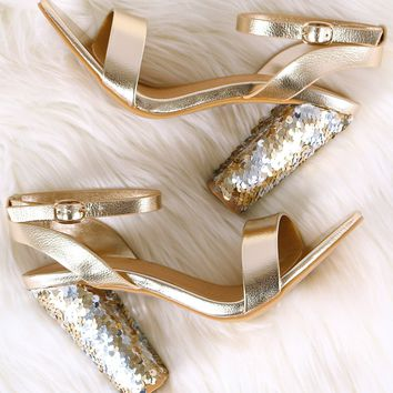 Bamboo Ankle Strap Sequins Covered Chunky Heel