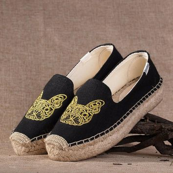 Soludos Bulldog Platform Smoking Embroidery Slipper Thick-bottomed Black - Best Deal Online