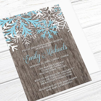 Winter Baby Shower Invitations Boy - Country Rustic Winter Wood - Blue and White Snowflake design - Printed Invitations