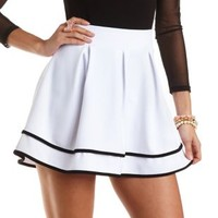 Pleated Skater Skirt with Piping by Charlotte Russe - Black/White