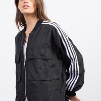 Sporty Striped Bomber Jacket