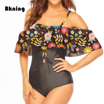 Ruffle One Piece Swimsuit Large Size Bathing Suit Female 2019 Plunge Vintage Floral Print Swimwear Neon Badpak Kawaii Swim XXXL