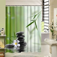 2017 New Zen Shower Curtain Stone Flower Green Bamboo Bathroom Decor 3d Fabric Printing Accessory With 12 Rings y1068