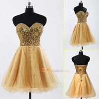Tulle Gold A Line Short Women Evening Prom Party Homecoming Girl Long Dresses