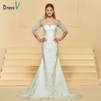 Dressv Ivory Long Wedding Dress Scoop Neck Lace Mermaid Sleeveless Sweep Train Beading Elegant Church Custom Wedding Dress