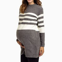 Grey-Striped-Maternity-Sweater