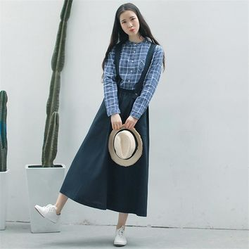 Vintage Long Suspender Black Skirt For Women Japanese Preppy Maxi Linen Overalls Mori Girl Navy Female High Waist Skirts 2017