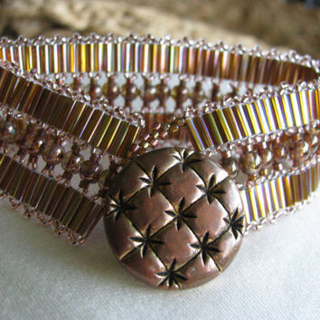 Copper Bugle Bead Woven Bracelet with Vintage Button by elsielight